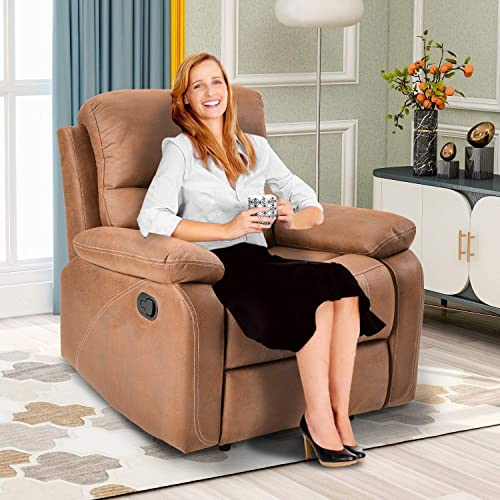 Recliner Chairs Living Room Chair Reclining Sofa Overstuffed Heavy Duty Recliner for Living Room – Home Theater Seating Faux Suede Leather