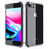 iPhone 8 7 Case, Clear Heavy Duty Drop Corner Protection Cushion Slim Hybrid Anti-Slip Shock-proof Scratch Resistant Flexible TPU Bumper Hard PC Back Protective Cover for Apple i-Phone 7 8 Transparent