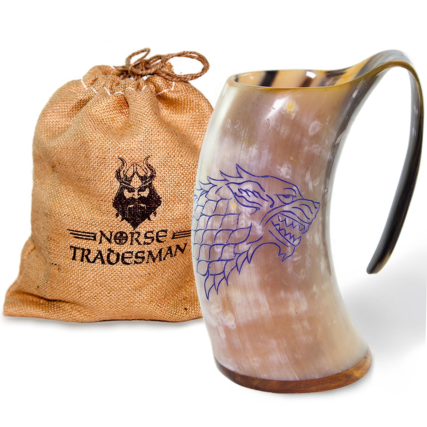 Norse Tradesman Genuine Viking Drinking Horn Mug - 100% Authentic Polished Beer Horn Tankard w/Game of Thrones Direwolf Engraving |''The Fenrir'', Polished, Large