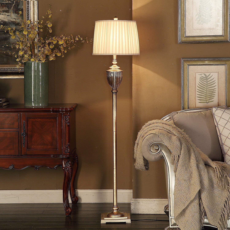 U'Artlines lampada terra salotto Crystal Vintage rame lampadario moderno con paralume in lino per soggiorno, camera, ufficio, altezza 155 cm61