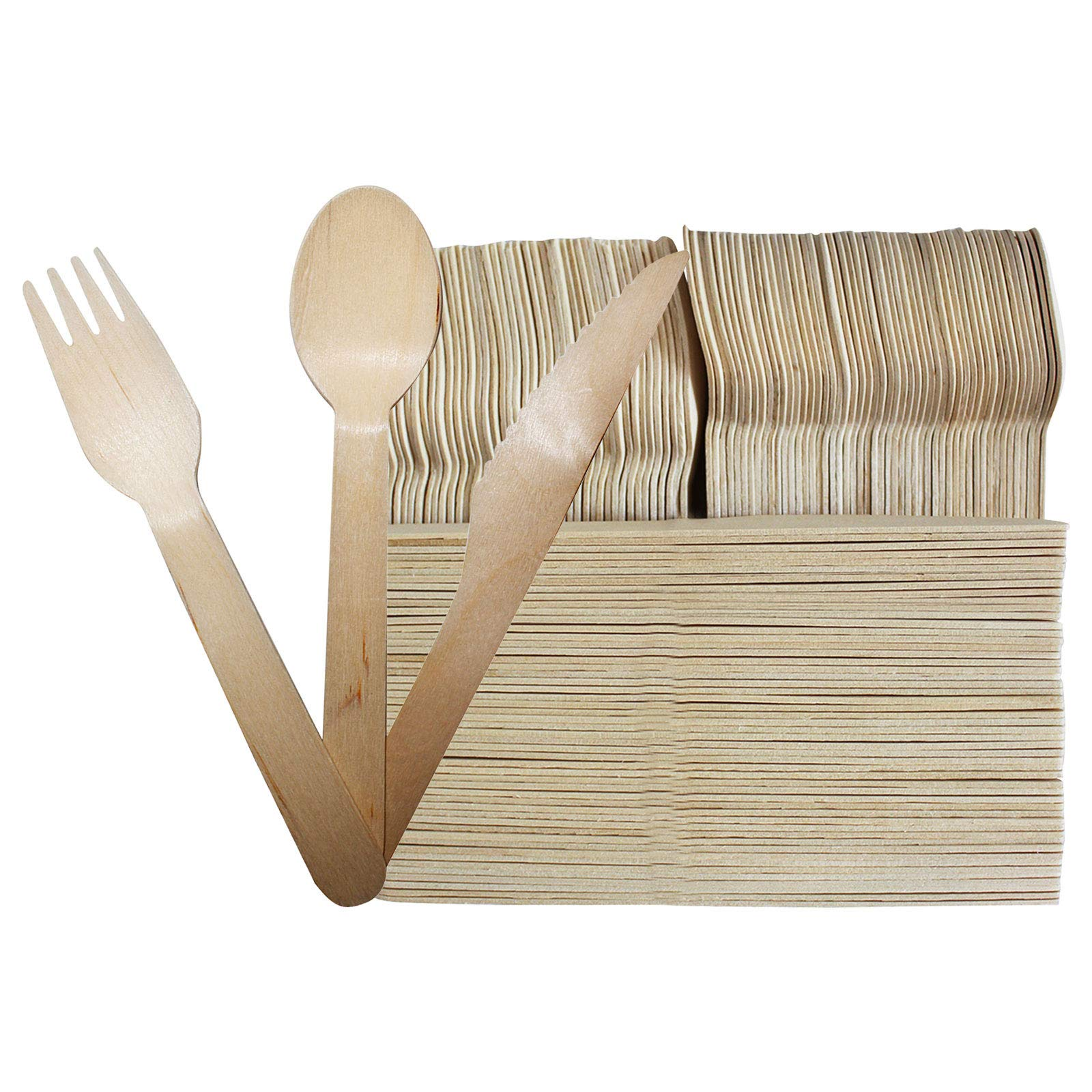 200 Pcs Disposable Wooden Cutlery Sets - Forks (100), Spoons (50) and Knives (50) - Alternative for Plastic ? Eco friendly Cutlery- Travel tableware for Parties, Weddings & Dinner Events, Picnics, Sch