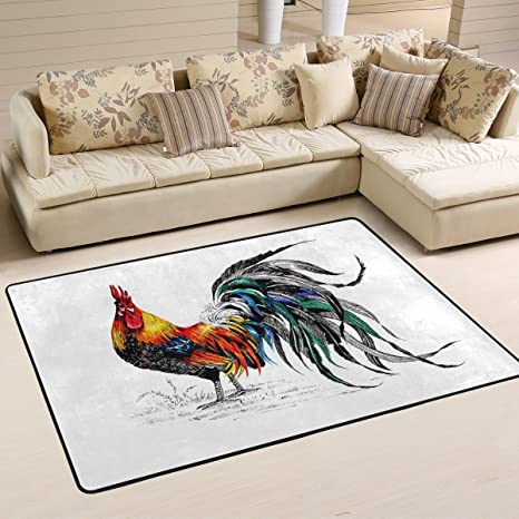 Amazon.com: Beautiful Rooster Area Rugs Pad Non-Slip Kitchen ...