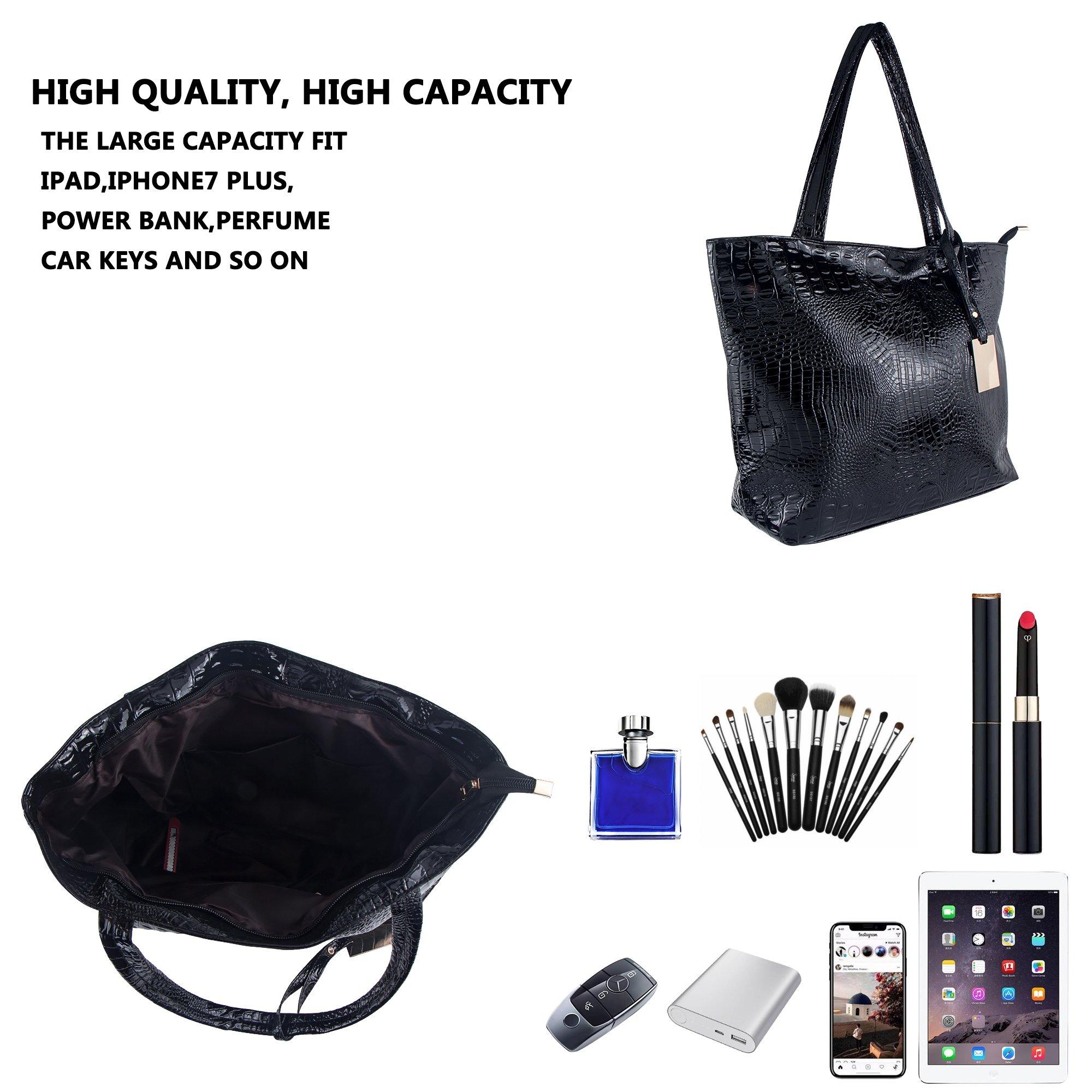 Bagood Womens Crocodile Pattern PU Leather Casual Shopping Handbags High Capacity Shoulder Ladies Soft Bag for Wedding Bridal Prom Party Black by Bagood (Image #6)
