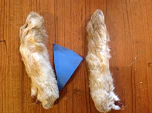 Two Golden Olive snowshoe rabbit back feet for fly tying decor etc. crafts