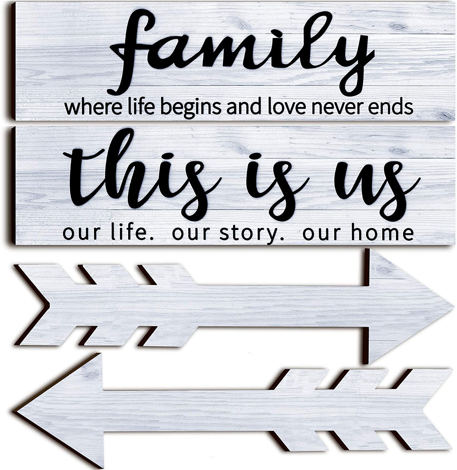Jetec 4 Pieces This is Us Rustic Print Wooden Signs Wooden Family Signs Family Wooden Hanging Sign Decorations for Home Bedroom Living Room Kitchen Laundry, 15 x 4 x 0.2 Inch (White)