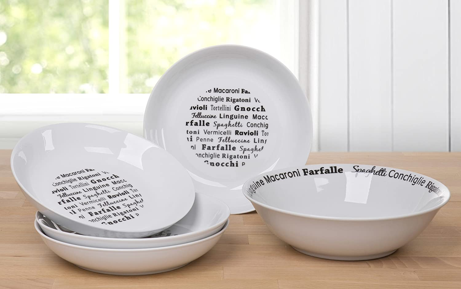 5 Piece Italian Black and White Script Pasta Set Waterside Fine China