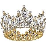 Vintage Rhinestones Crystal Crown for Women Wedding Bridal Tiara Flower Crown Hair Accessories (gold-white)