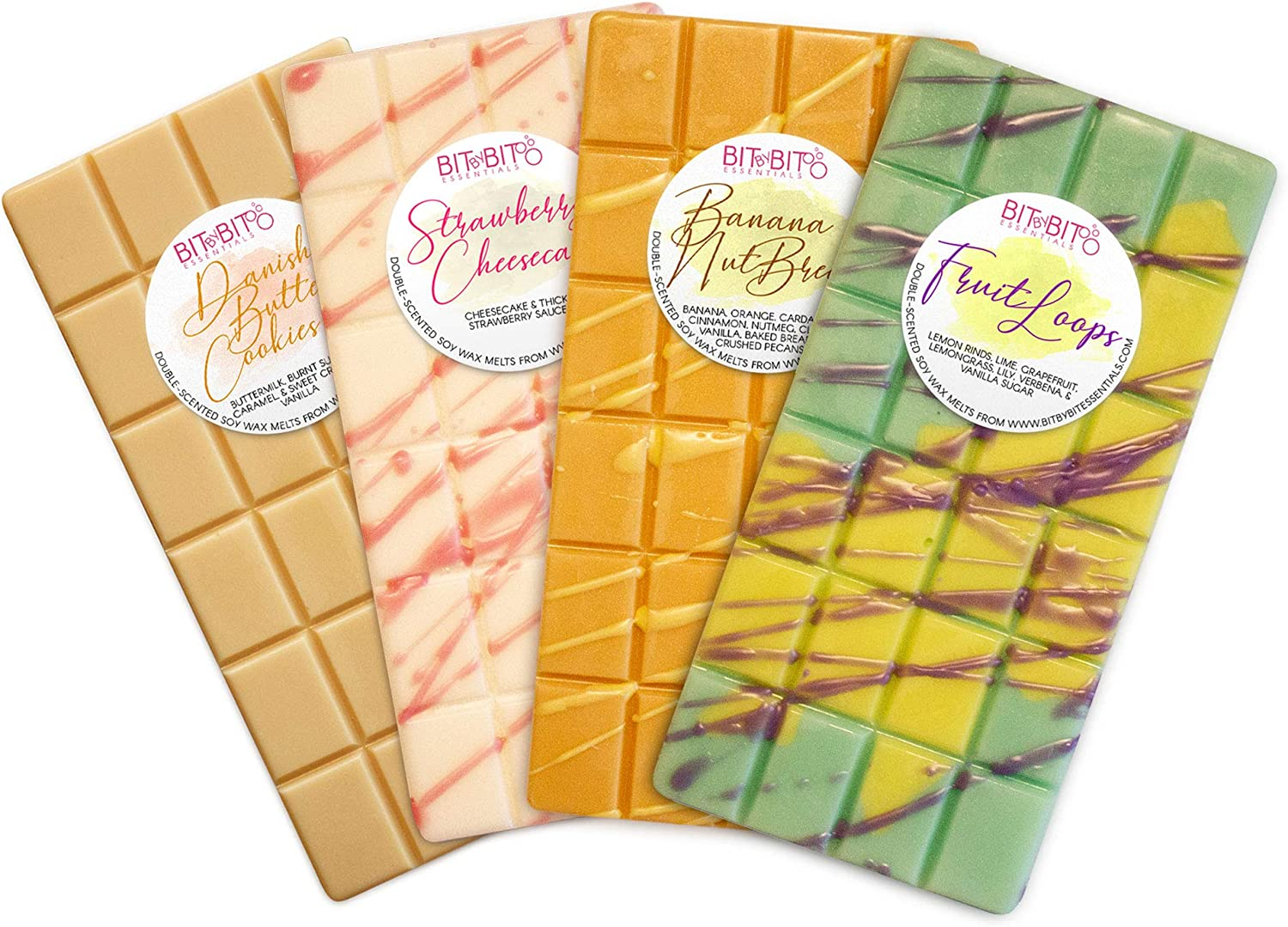 Bit by Bit Essentials Bakery Soy Wax Melts Variety Pack - 4 Highly Scented 3oz Breakaway Bars - American Made and Infused with Natural Oils