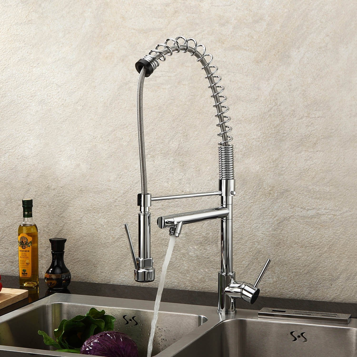Lightinthebox Deck Mount Single Handle Solid Brass Spring Kitchen Faucet  With Two Spouts Discount Kitchen Sink Faucet With Pull Out Spray Pull Down  Sprayer ...