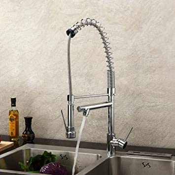 deck mount single handle solid brass spring kitchen faucet with two spouts discount kitchen sink