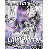 Chibi Girls Horror Grayscale: An Adult Coloring Book with Adorable Anime Characters and Cute Horror Scenes for Relaxation