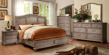 Amazon Com Belgrade Collection Master Bedroom Furniture Wooden Hb Platform California King Size Bed Rustic Natural Tone Finish W Matching Dresser Mirror Nightstand 4pc Set Modern Furniture Decor