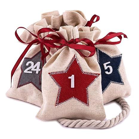 2663670a6 Pajoma 24 Bolsas de Yute numeradas con Estrellas para Calendario de Adviento,  Colgar y Rellenar