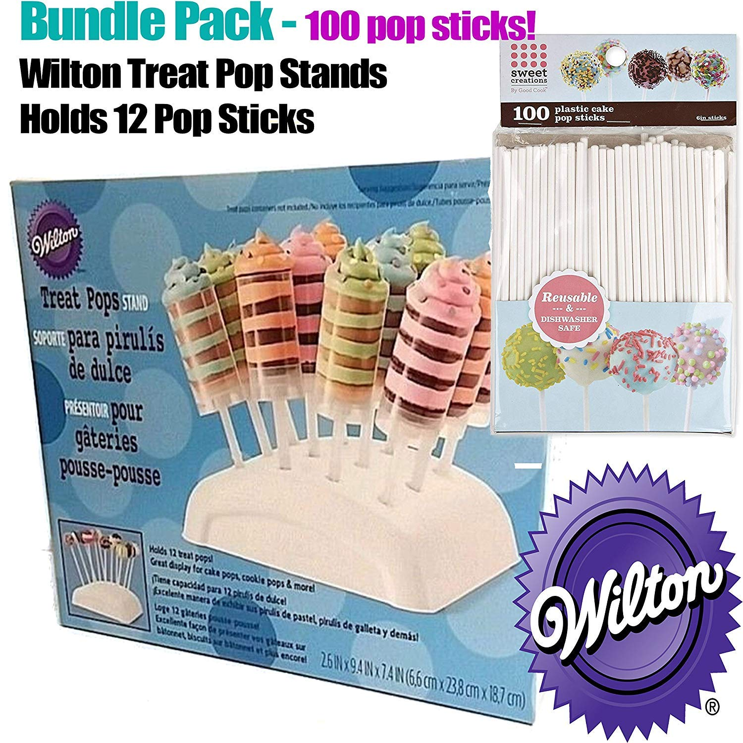 Wilton Treat Pops Stand & Sweet Creations 100 Cake Pops BUNDLE