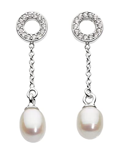 1e4764c04 Dew Sterling Silver Cubic Zirconia and Freshwater Pearl Chain Stud Earrings:  Amazon.co.uk: Jewellery