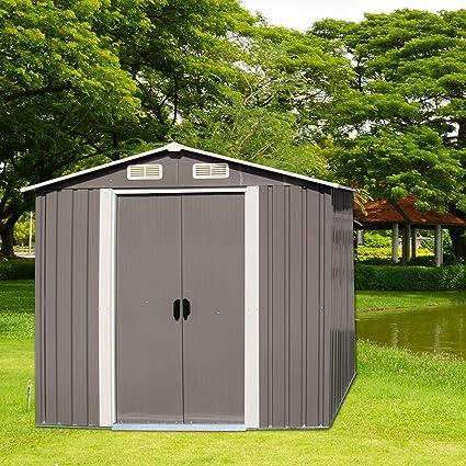 Kinbor 6u0027 X 4u0027 Outdoor Steel Garden Storage Utility Tool Shed Backyard Lawn  Warm