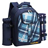 apollo walker Picnic Backpack Bag for 2 Person with Cooler Compartment, Detachable Bottle/Wine Holder, Fleece Blanket, Plates and Cutlery