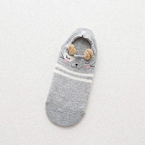 Dooret Otoño Transpirable Kawaii Cartoon Mujeres cómodos Calcetines de algodón Antideslizante Chicas Adolescentes Zapatillas Calcetines Cortos