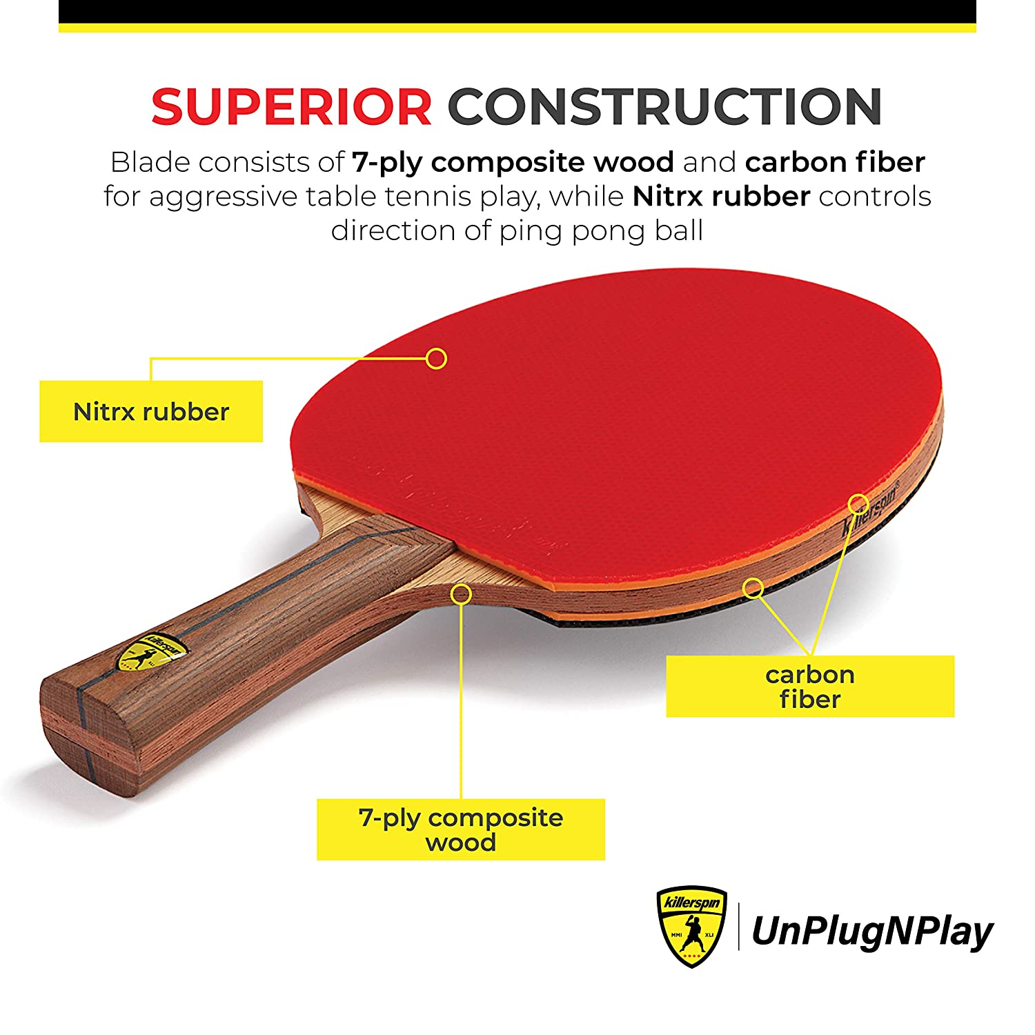 Killerspin Jet 800 Table Tennis Paddle, Professional Ping Pong Paddle, Table Tennis Racket with Carbon Fiber Blade, Nitrx Rubber Grips Ping Pong Balls, Memory Box for Storage – Red & Black 71wO0Z6tmHL._SL1500_
