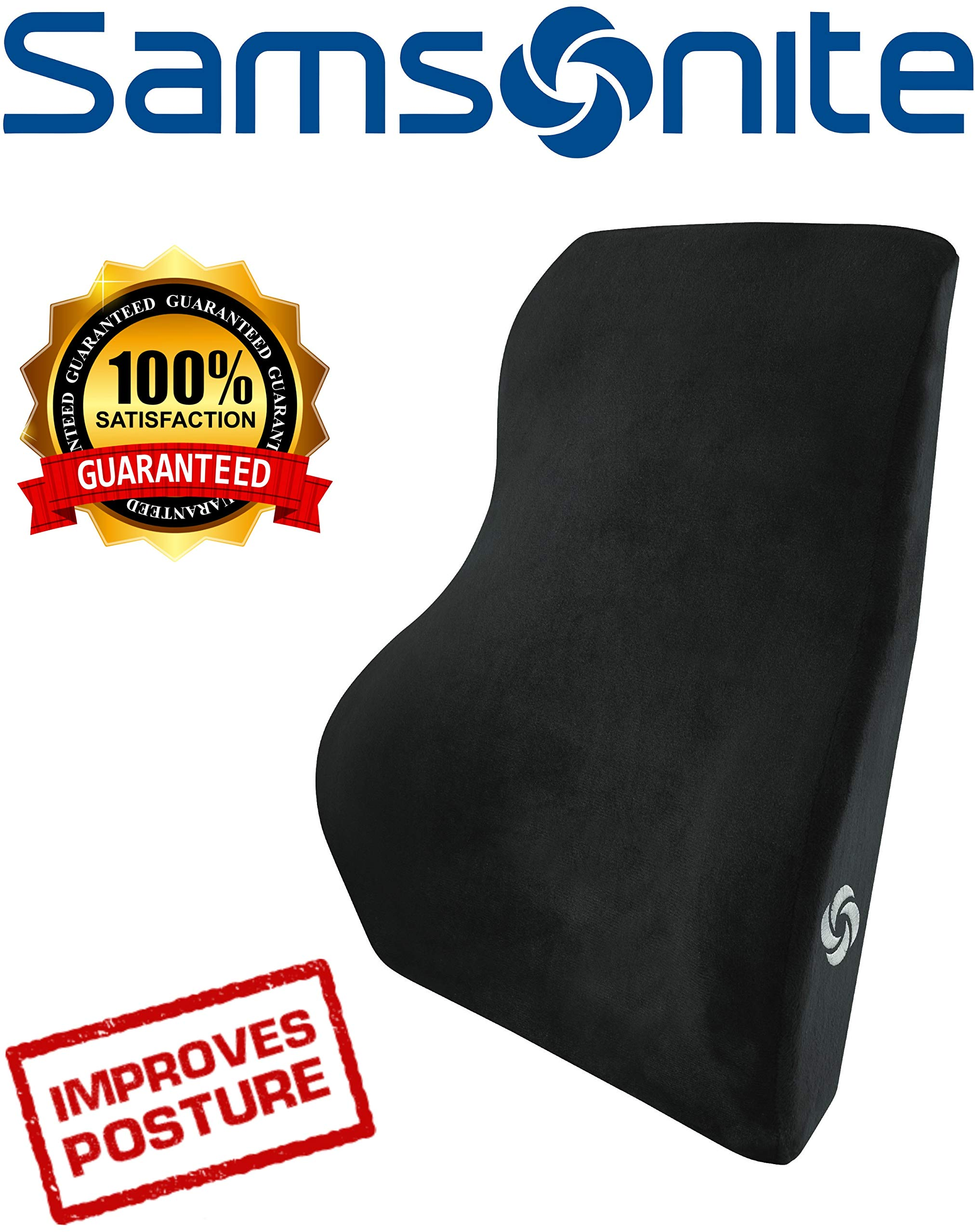 Samsonite SA5447 Full Size Lumbar Support with 100% Pure Memory Foam  Helps Relieve Lower Back Pain  Fits Most Seats by Samsonite (Image #1)