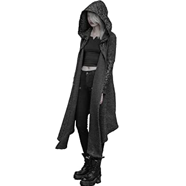 Punk Rave Women Gothic Vintage Long Hooded Asymmetrical Cardigan