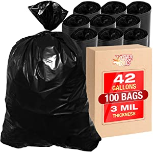 100Pk 3 Mil Contractor Trash Bags - 42 Gallon Heavy Duty Black Garbage Bags for Trash, Storage, Yard Work, 33 x 48 Commercial Use Super Thick Industrial Grade Construction Bags - by Tougher Goods