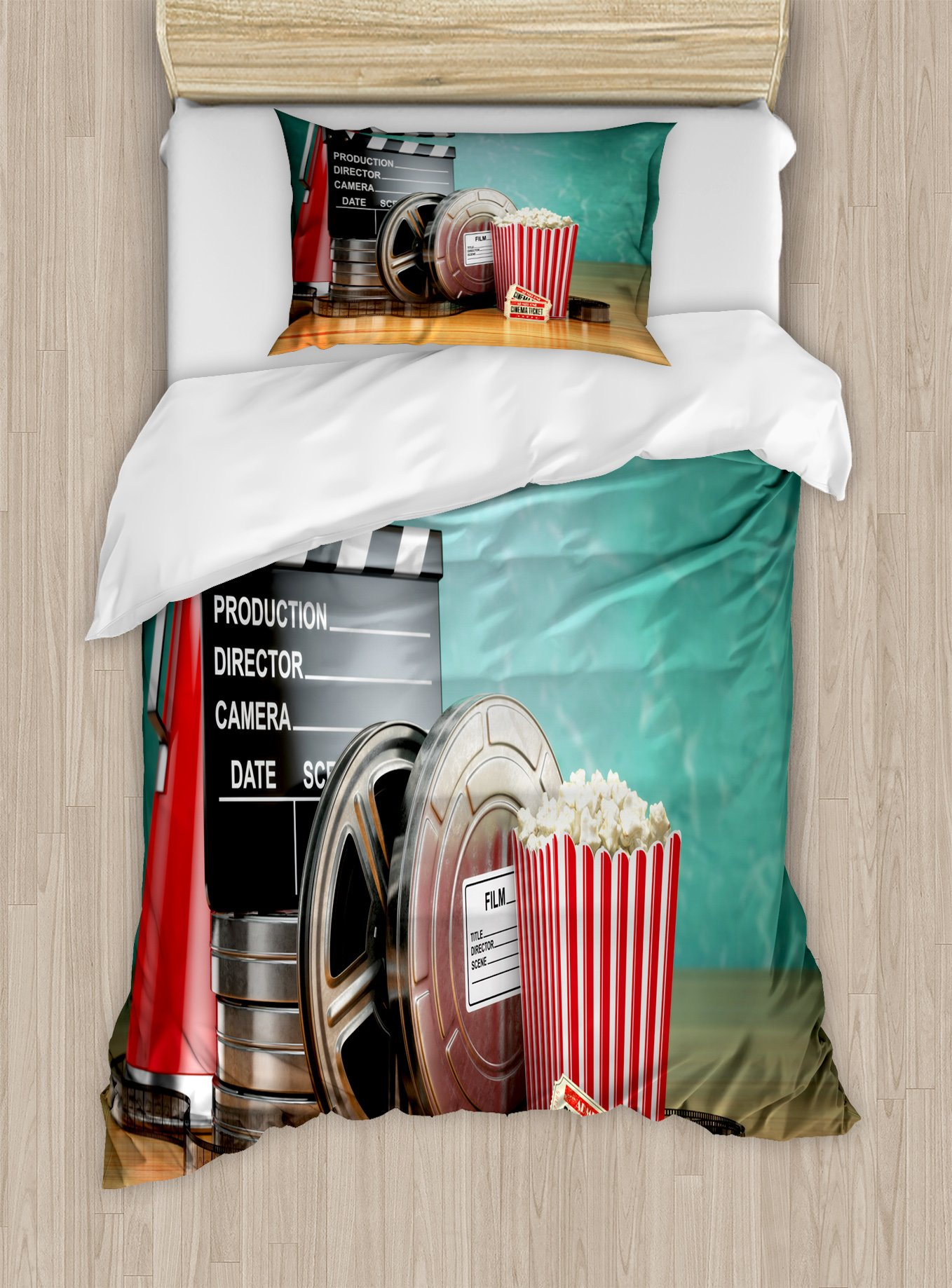 Ambesonne Movie Theater Twin Size Duvet Cover Set, Production Theme 3D Film Reels Clapperboard Tickets Popcorn and Megaphone, Decorative 2 Piece Bedding Set with 1 Pillow Sham, Multicolor