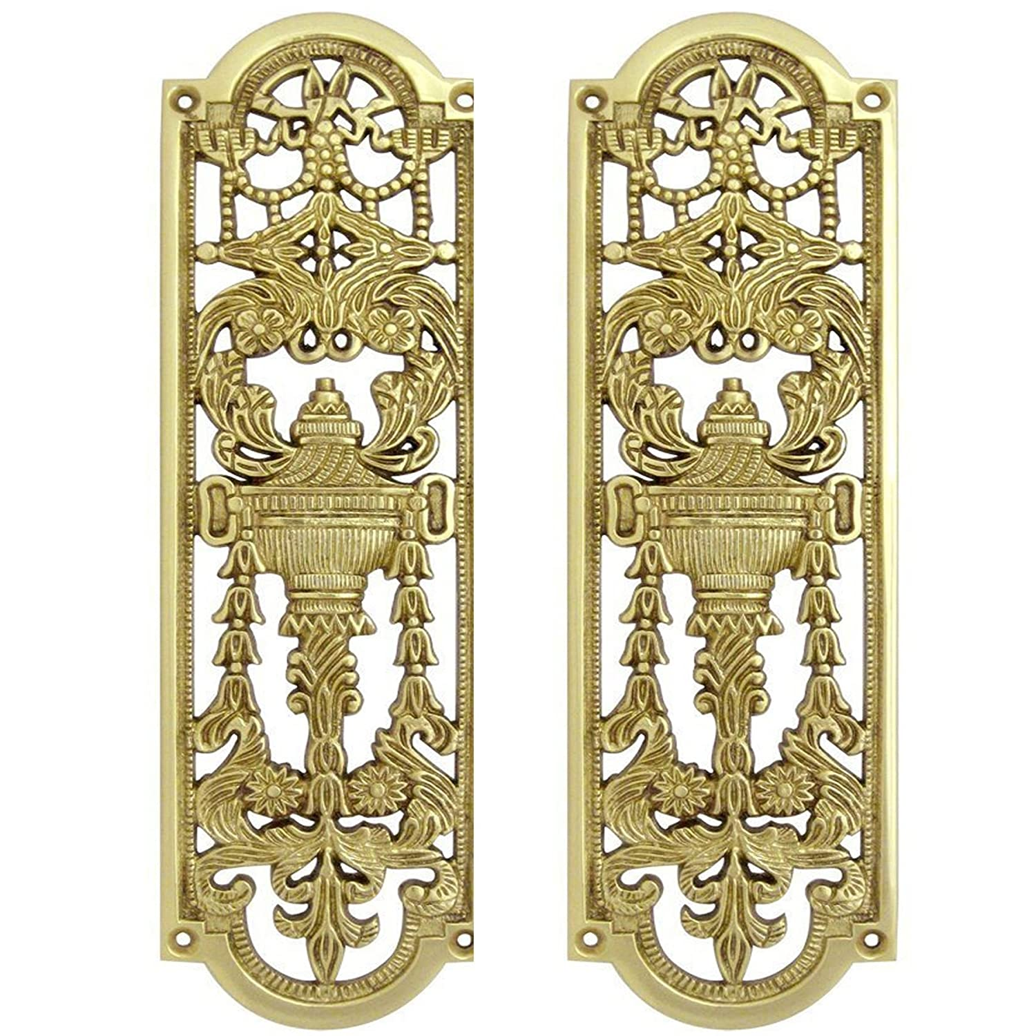 2x Solid Brass Finger Push Plate Quality Ornate Antique Design Style Door Handle White Hinge