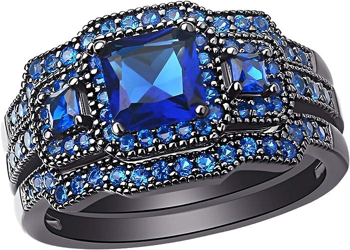 Beautiful Gemstone Ring; Nickel free jewelry Blue Sapphire Silver plated Teardrop Ring