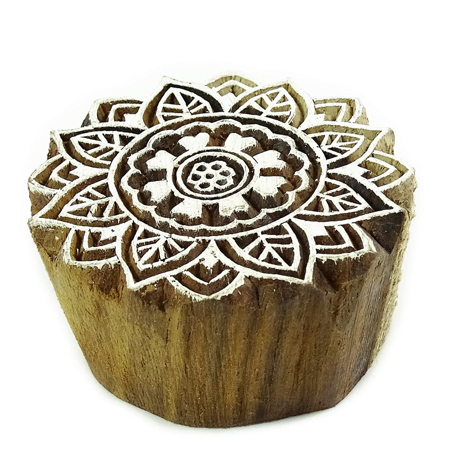 Wooden Printing Brown Decorative Hand Carved Floral Textile Collectible Blocks