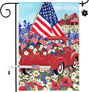 Bonsai Tree 4th of July Garden Flag, Double Sided Patriotic Red Truck Flowers Burlap Yard Flags, American Flag Independence Day House Banners Welcome Home Decorations 12x18 Prime