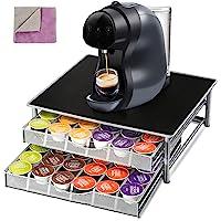 حامل قهوة بطبقتين مع 2 قطعة قماش للتنظيف ودرج تخزين حبوب القهوة لـ 72 حافظة MasNG-