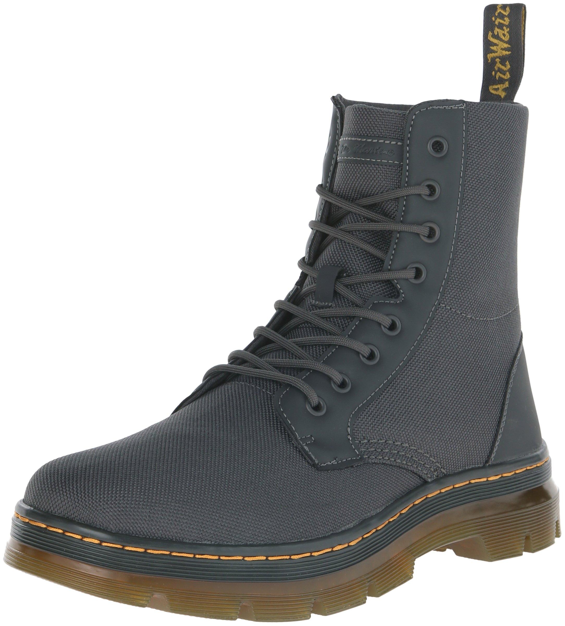 Dr. Martens Men's Combs Nylon Combat Boot, Charcoal, 12 UK/13 M US