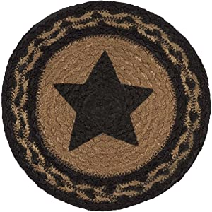 VHC Brands Classic Country Primitive Tabletop & Kitchen - Farmhouse Jute Black Stencil Star Trivet, 8""