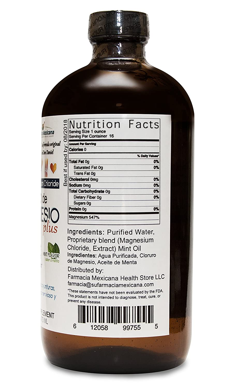 Amazon.com: Cloruro de Magnesio Liquido con Agua Alkalina y Menta - Magnesium Chloride Liquid - 16 oz: Health & Personal Care