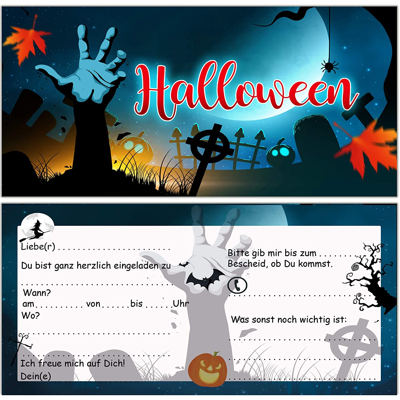 Einladungskarten zu Halloween zur Halloweenparty 12 St/ück Einladung Einladungen Karten Set Sarg Gruselparty Erwachsene Kinder