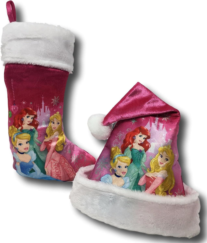 Disney Princess Pink Santa Hat and Stocking Set  Princess Pink Cinderella  Ariel and Aurora