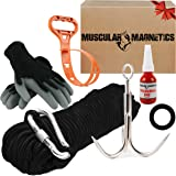 The Ultimate Magnet Fishing Accessory Kit - Includes Large Grappling Hook, 8mm 100ft Rope, Durable Non-Slip Gloves, Threadloc