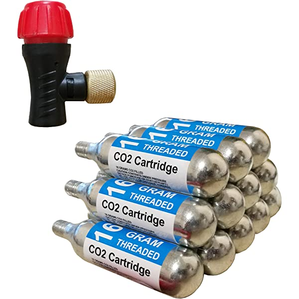 ActionUnion Refilling 16g Threaded CO2 Cartridges Charger Cyclinder 16 Gram Refill Cylinder Fits Bike Air Pump Bicycle Tire Inflator Ball Basketball Mini Refilled Reusable//Rechargeable Eco-Friendly