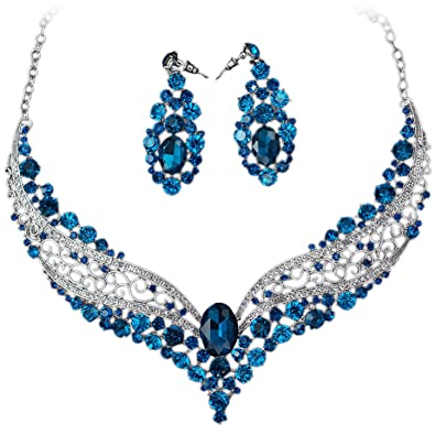 b9bc58d7d Amazon.com: VF Navy Blue Rhinestone Crystal Alloy Hollow Flower ...