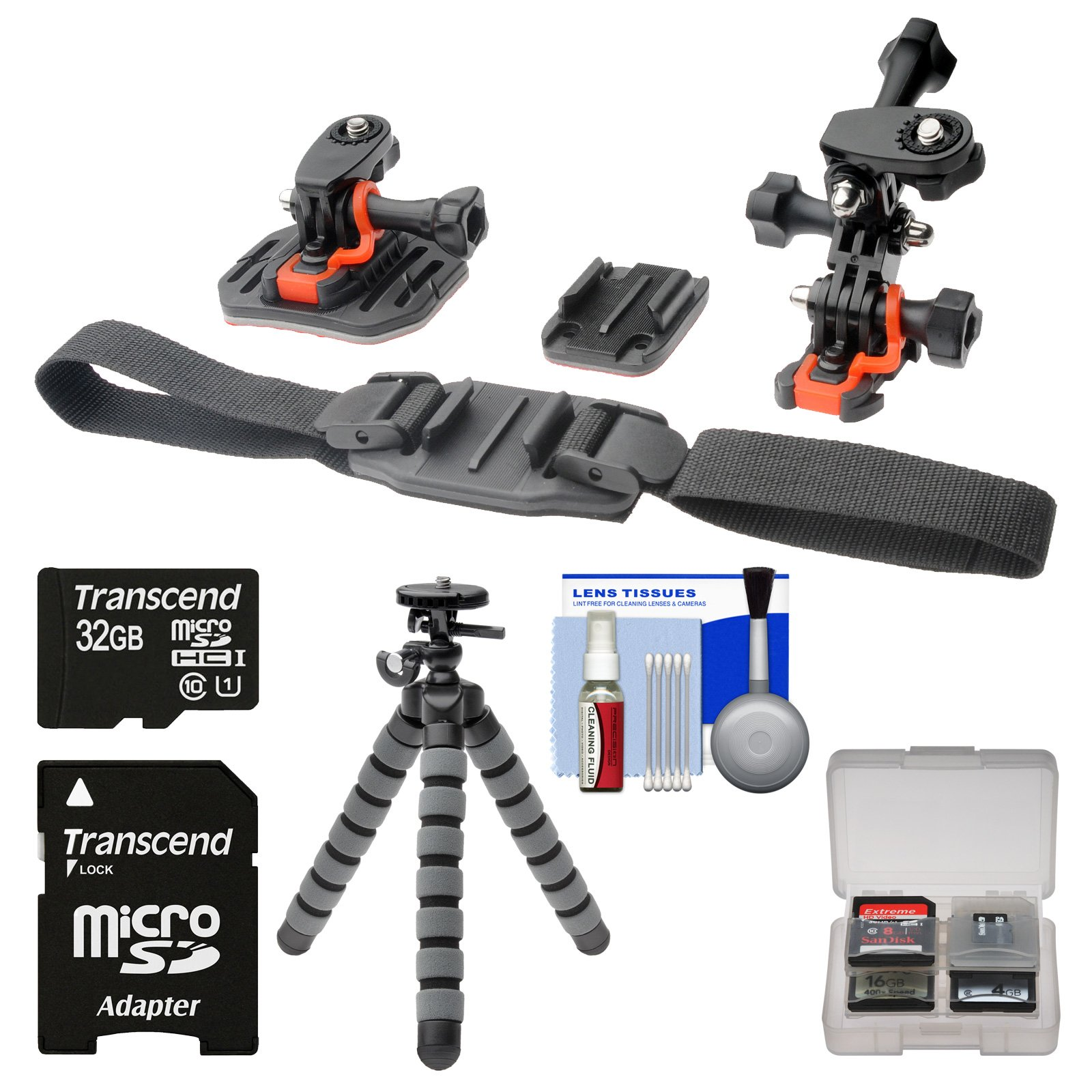 Essentials Bundle for Replay XD 1080 Mini & Prime X Action Video Camera Camcorder with Flat Surface, Curved & Vented Helmet Mounts + 32GB Card + Flex Tripod + Kit