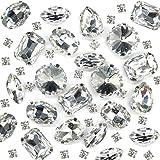 Towenm Sew On Rhinestones, 160PCS Sew On Glass Rhinestone, Sewing Claw Crystals, Metal Prong Setting Flatback Rhinestones, fo