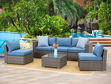 Incroyable Wisteria Lane 6 Piece Outdoor Furniture Set Modular Wicker Patio Sectional  Sofa Couch For Garden