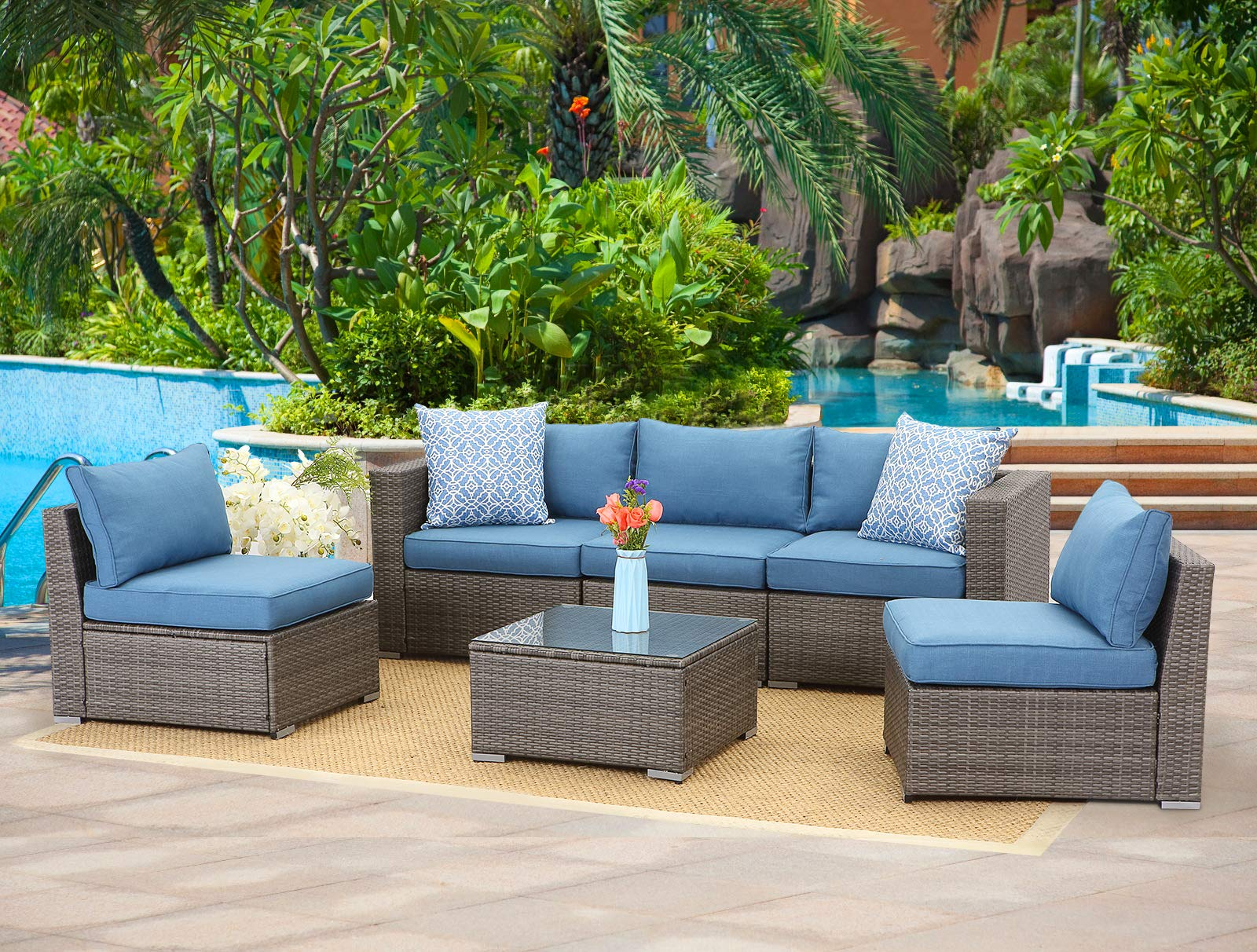 Wisteria Lane 6-Piece Outdoor Furniture Set Modular Wicker Patio Sectional Sofa Couch for Garden Backyard,Sophisticated Glass Coffee Table with Fabric Cushions,Upgrade Blue Cushion