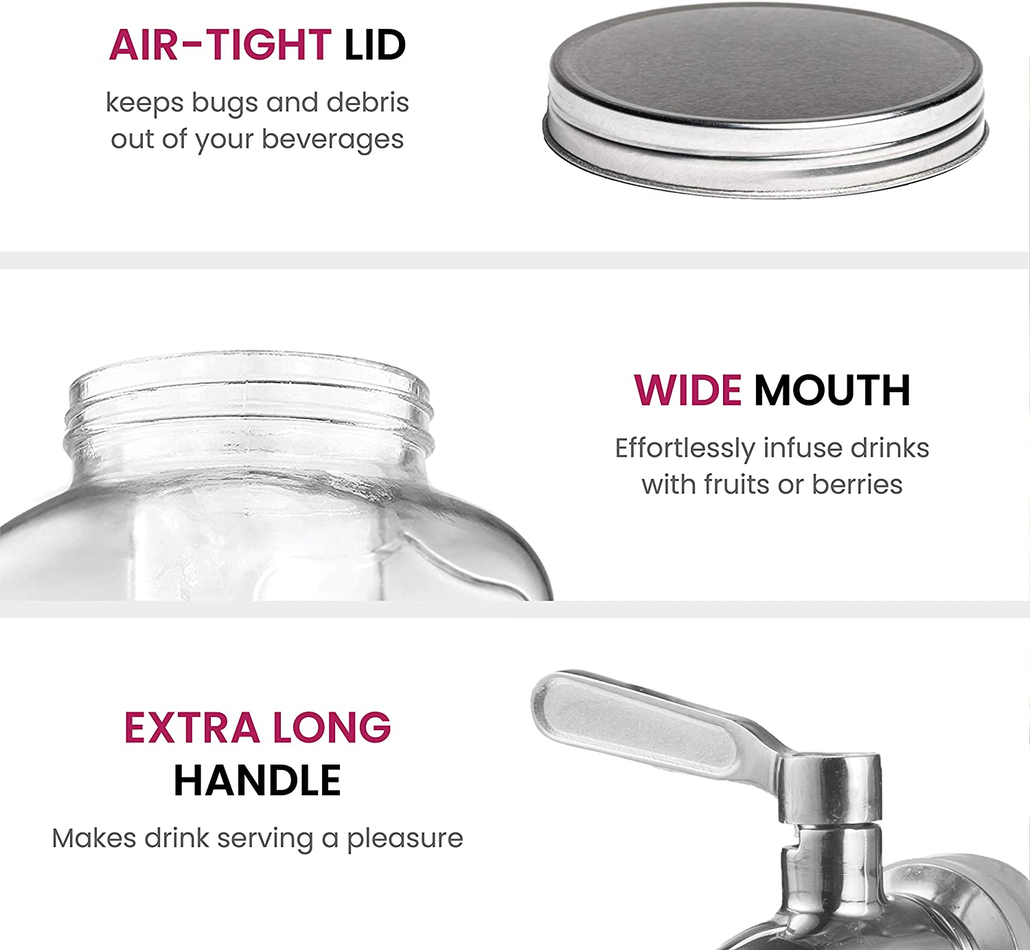 Water Leak Proof /& Drip Free Superior Glass Beverage Dispenser with Stainless Steel Tap 3.7L Drinks Dispenser with Ice Cylinder /& Wide Mouth for Easy Filling Juice /& Cocktail Jug with Metal Lid