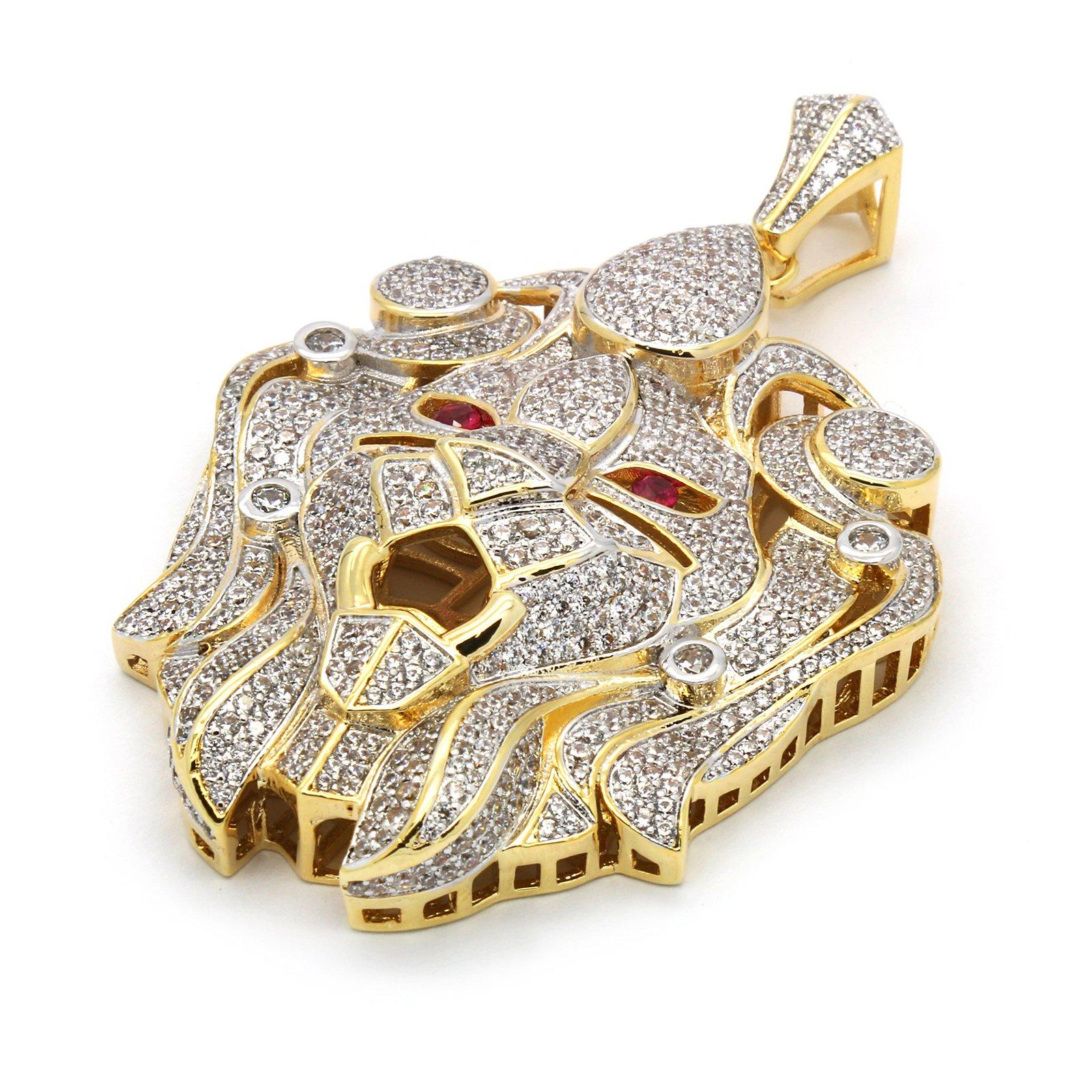 Men's Luxury Hip Hop Gold Plated Lion Face Piece Pendant 30'' 3mm Rope Chain Necklace Set SG01 by L & L Nation