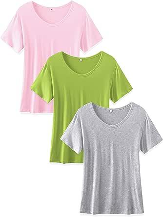 TASAMO Women's 2-Pack Classic-Fit Short-Sleeve Crewneck T-Shirt
