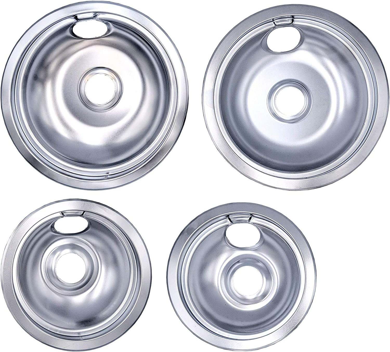 Supplying Demand 316048413 316048414 Chrome Drip Pan 4 Piece Set Compatible with Frigidaire (2) 6 Inch & (2) 8 Inch