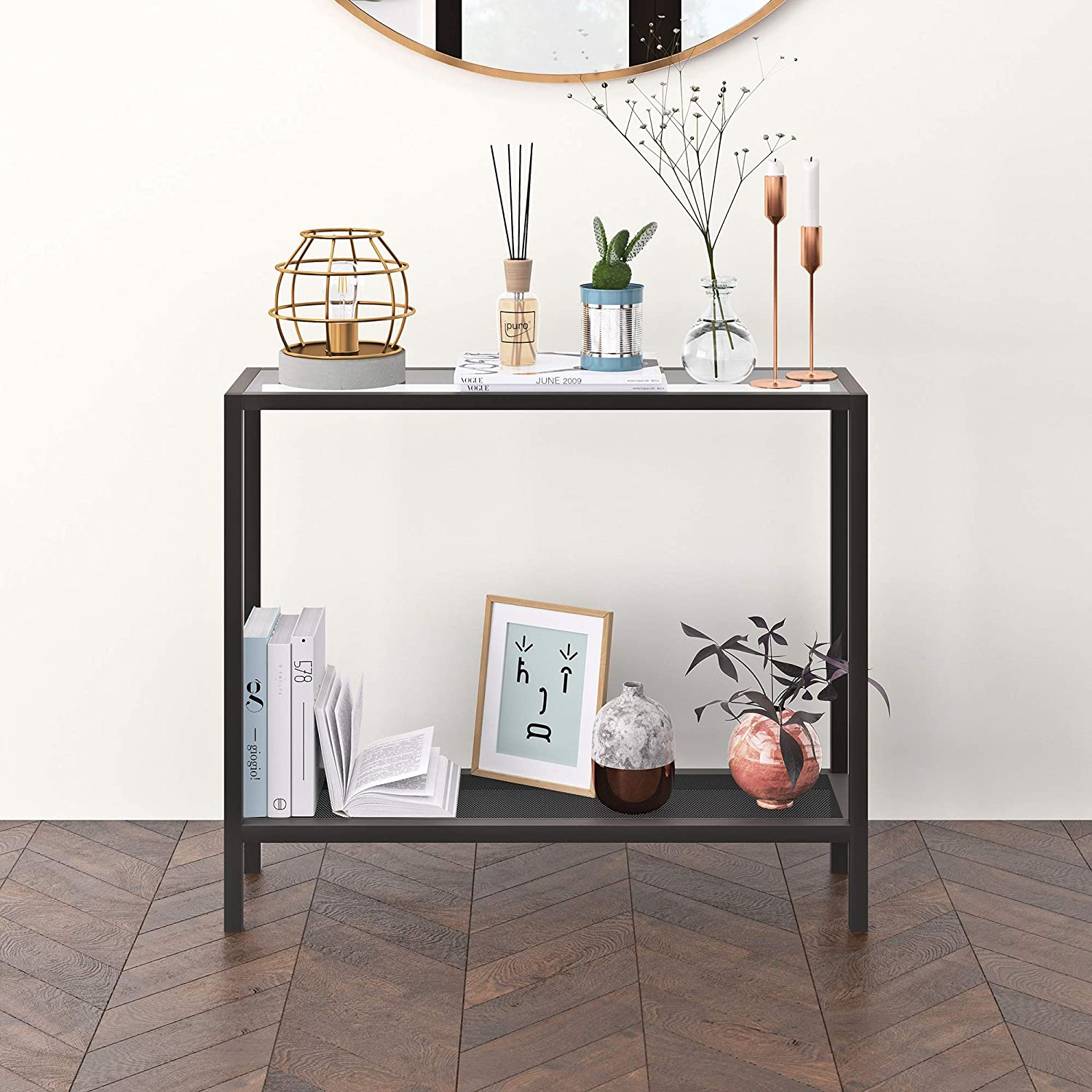 Henn&Hart Industrial Metal Perforated Mesh Shelf Console table