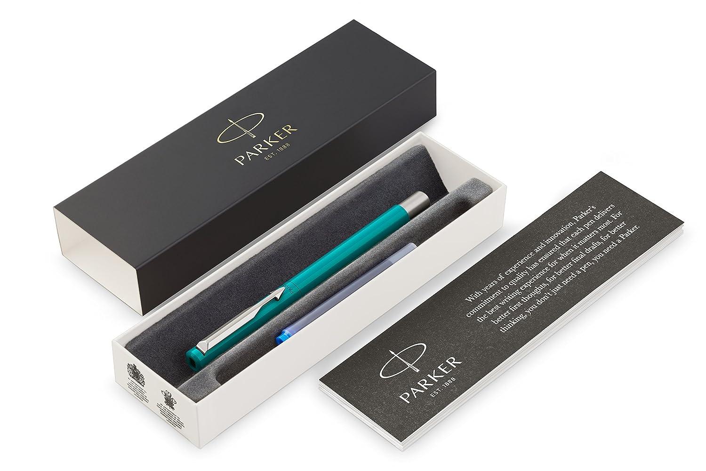 PARKER Vector pluma estilográfica, color esmeralda con adorno cromado, plumín mediano, tinta azul, en estuche de regalo